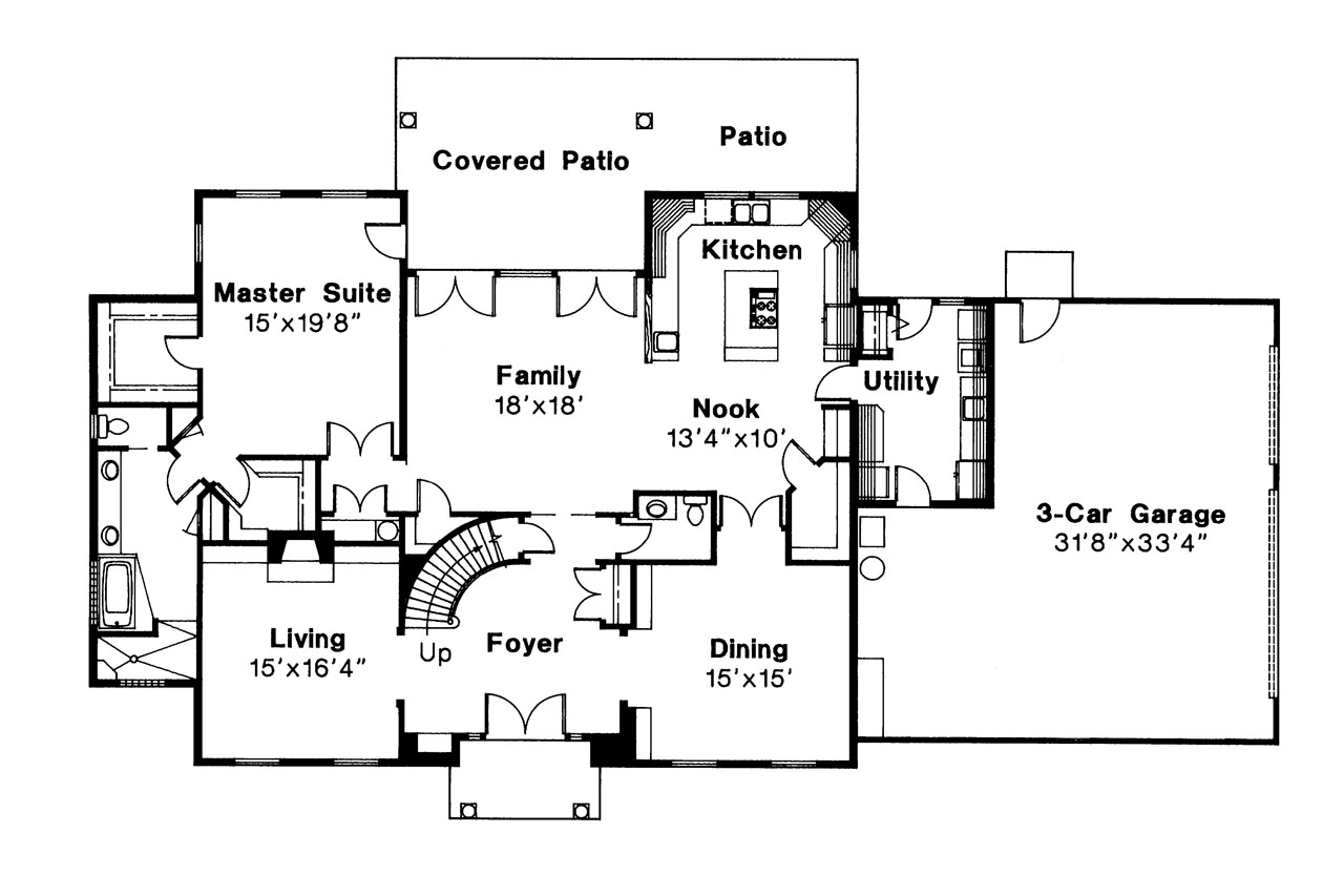 Colonial house plans kearney 30 062 associated designs for Colonial home floor plans