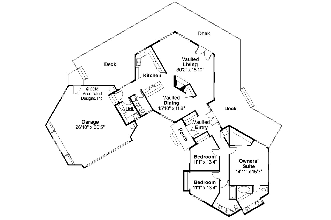 Contemporary House Plans - Encino 10-016 - Associated Designs
