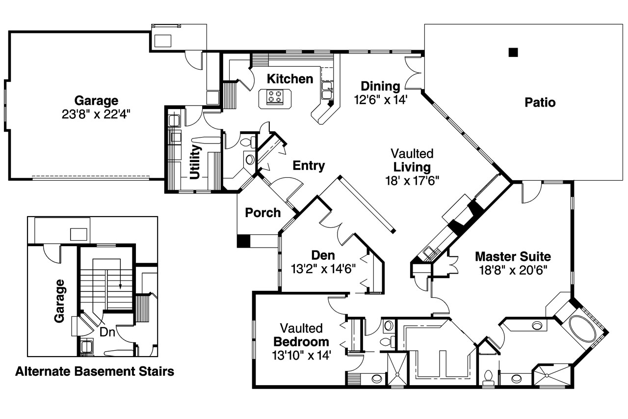Contemporary house plans norwich 30 175 associated designs Modern ranch floor plans
