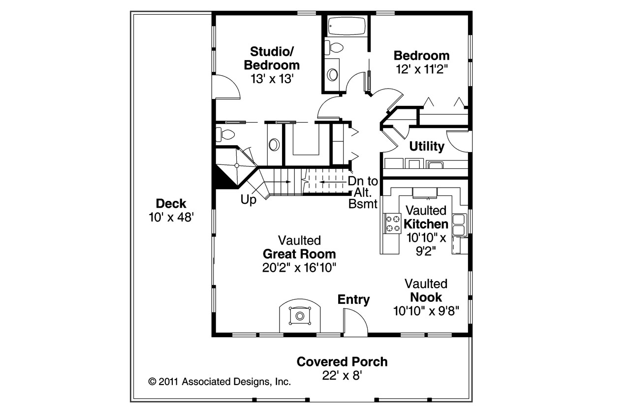 Cottage house plans arden 30 329 associated designs for Floor plan cottage