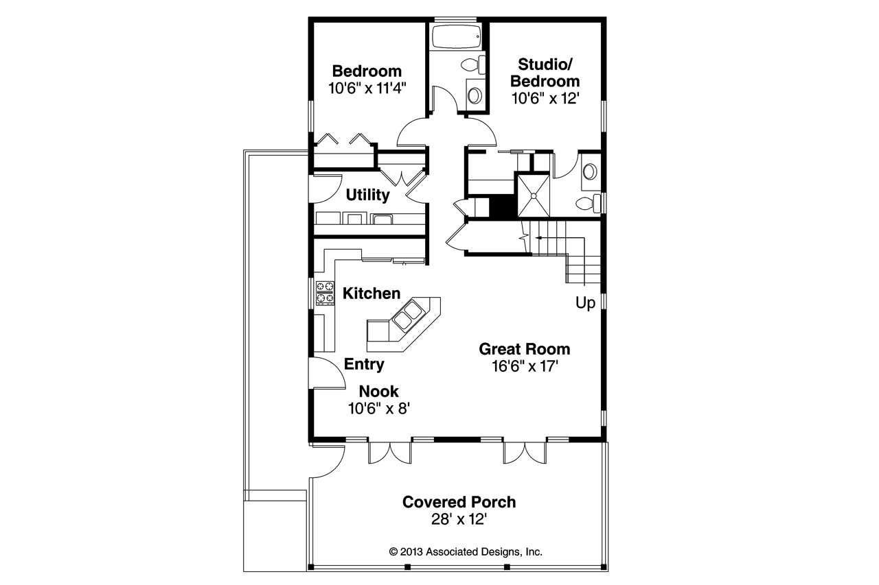 Cottage house plans lyndon 30 769 associated designs for Floor plan cottage