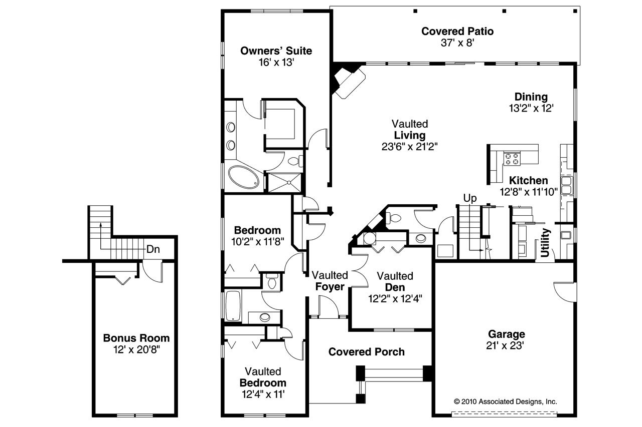 Craftsman house plans greenleaf 70 002 associated designs for Craftsman floor plans