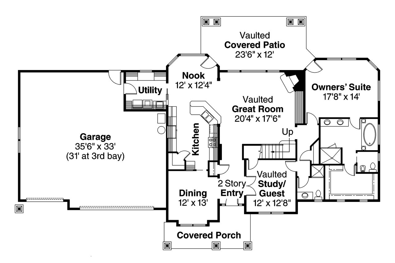 Craftsman house plans montego 30 612 associated designs for Craftsman mansion floor plans