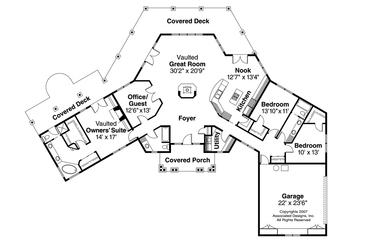 Craftsman House Plans Oceanview 10 258 Associated Designs: floor plan view