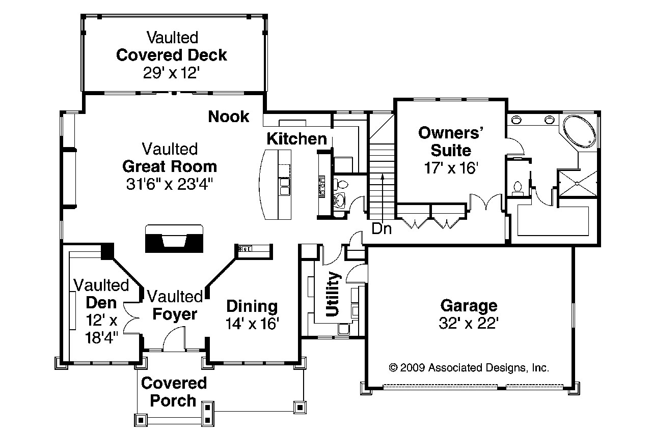 craftsman house plan pacifica 30 683 1st floor plan - Craftsman House Plans