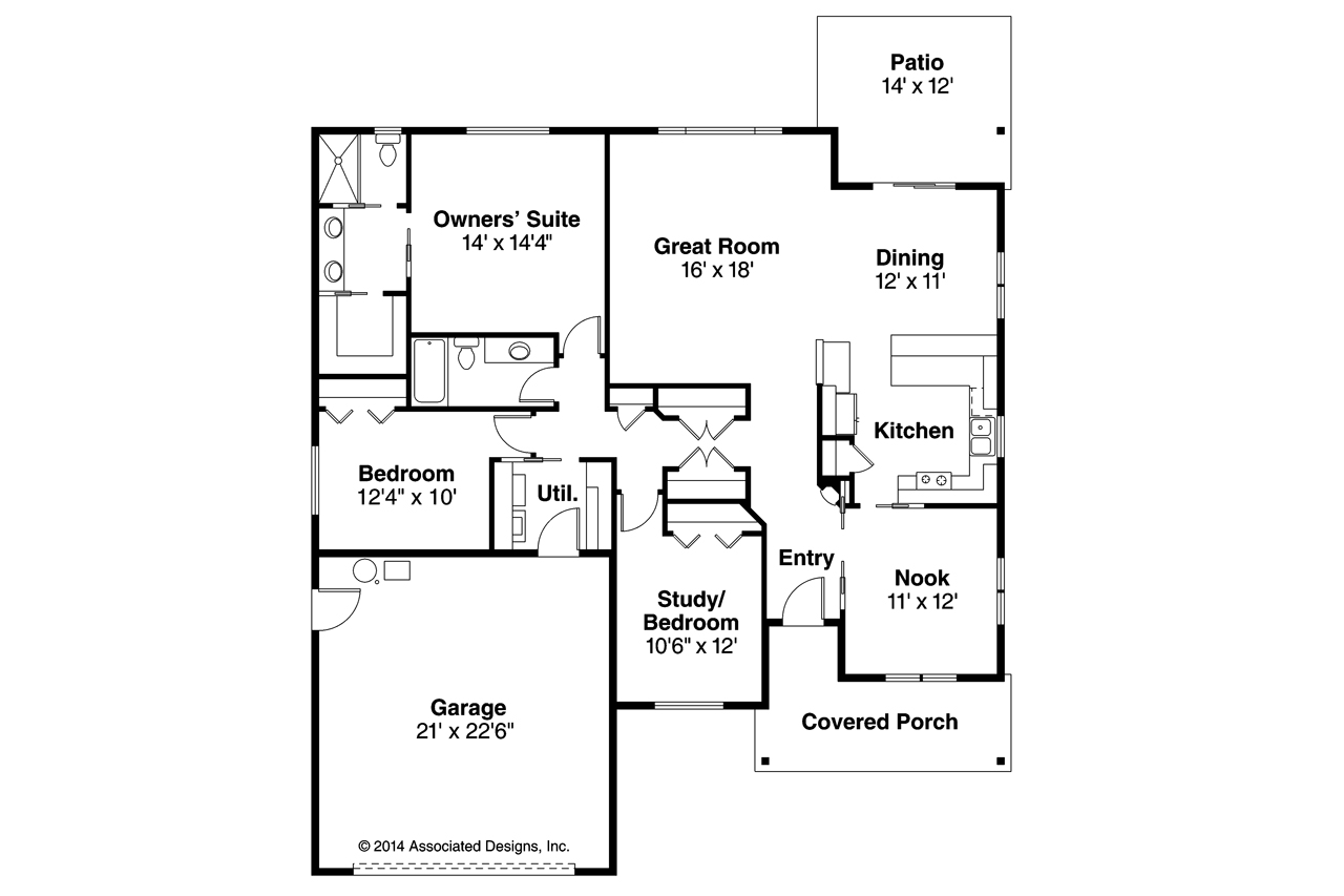 Craftsman House Plans   Pineville     Associated DesignsCraftsman House Plan   Pineville     Floor Plan