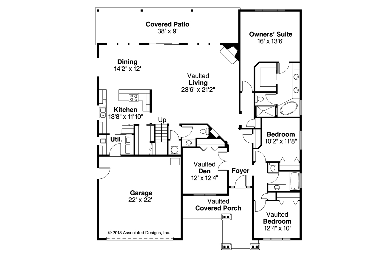 Craftsman house plans sutherlin 30 812 associated designs for Craftsman style open floor plans