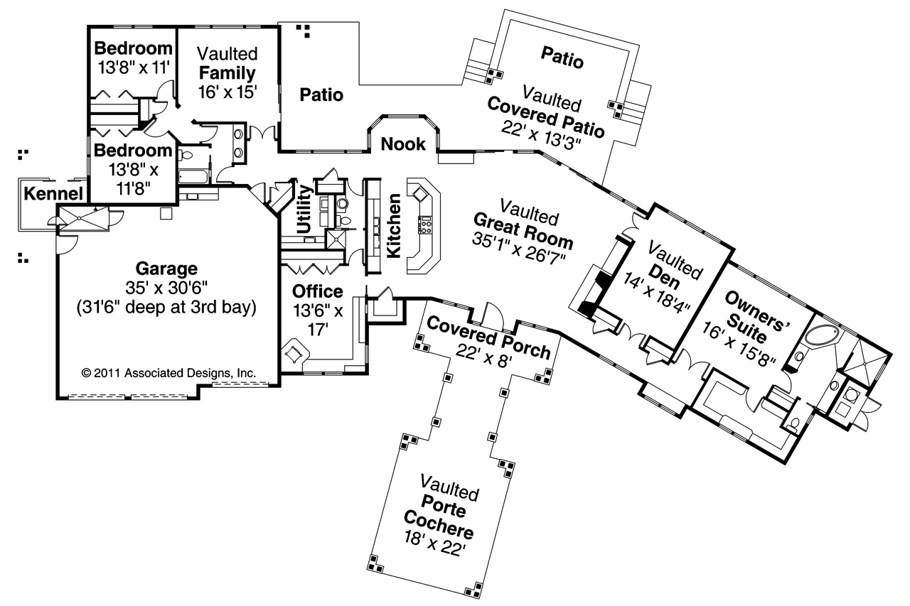 Craftsman House Plans   Woodcliffe     Associated DesignsCraftsman House Plan   Woodcliffe     Floor Plan