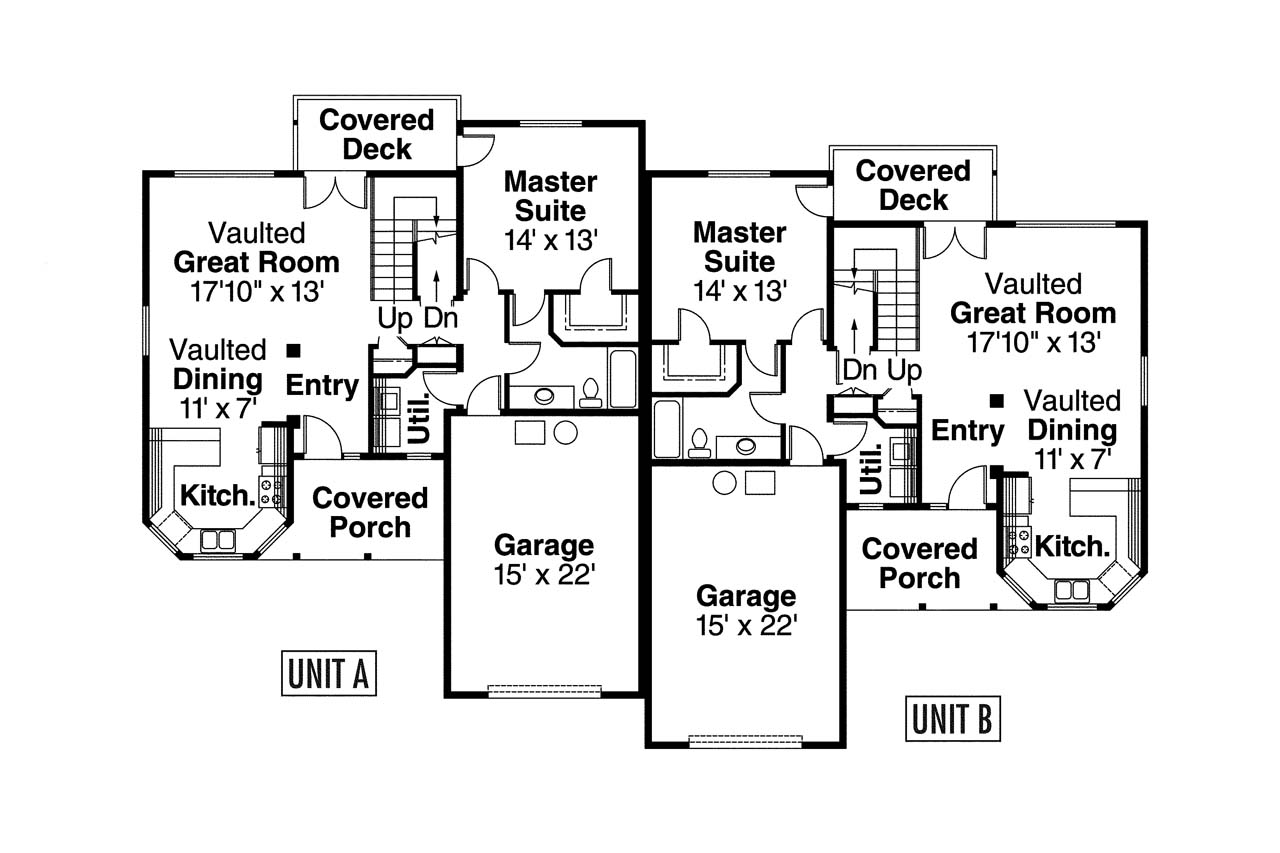 Country house plans kirkwood 60 013 associated designs for Duplex floor plan