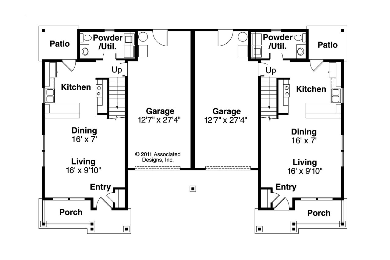 Cottage house plans philipsburg 60 030 associated designs Duplex plans