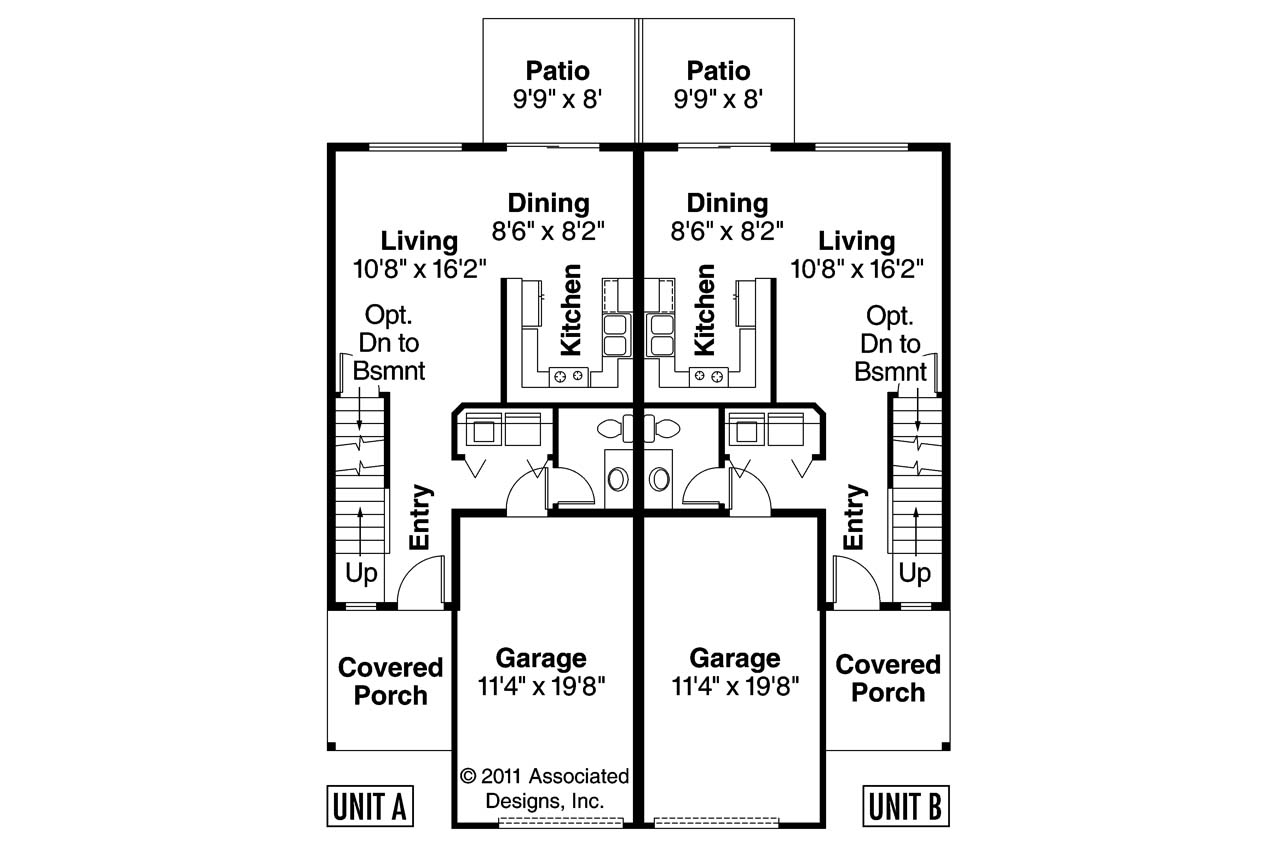1 Bedroom Townhomes Duplex House Plans