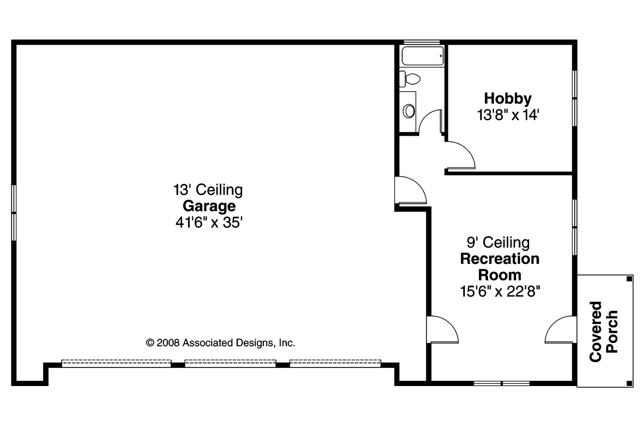 Craftsman house plans rv garage w living 20 042 for Garage floor plans