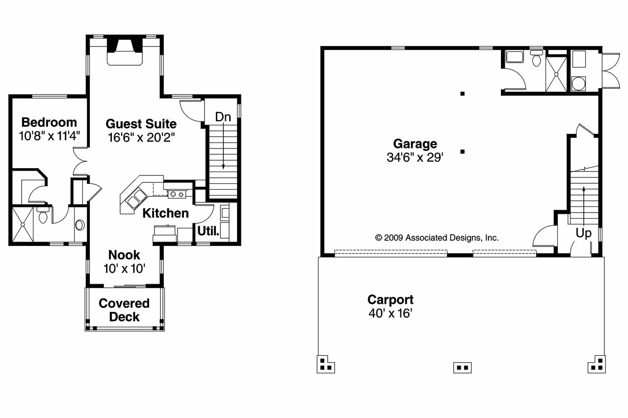 Bungalow house plans garage w apartment 20 052 for Garage floor plans