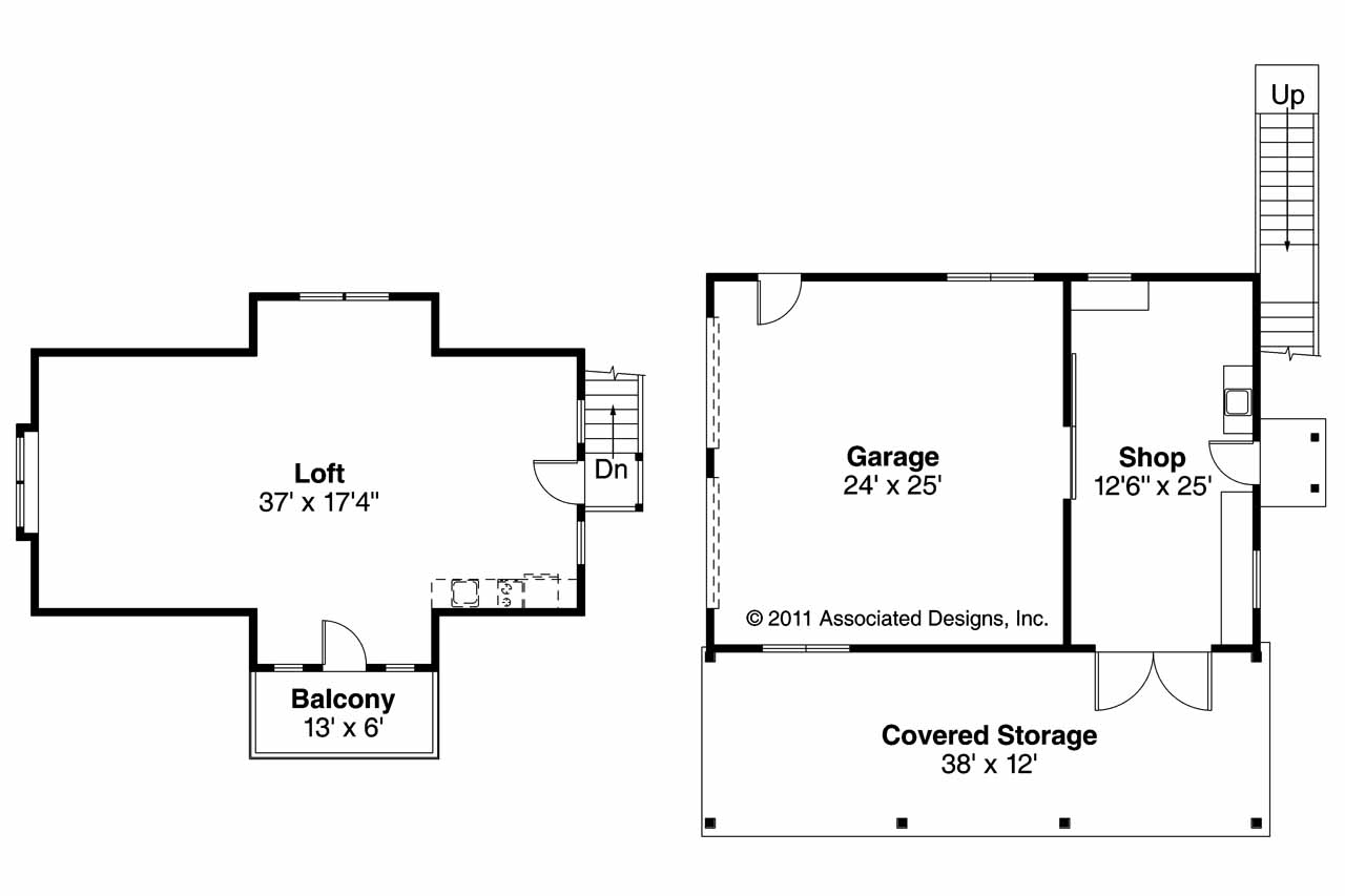 Craftsman house plans 2 car garage w loft 20 077 for 2 car garage floor plans