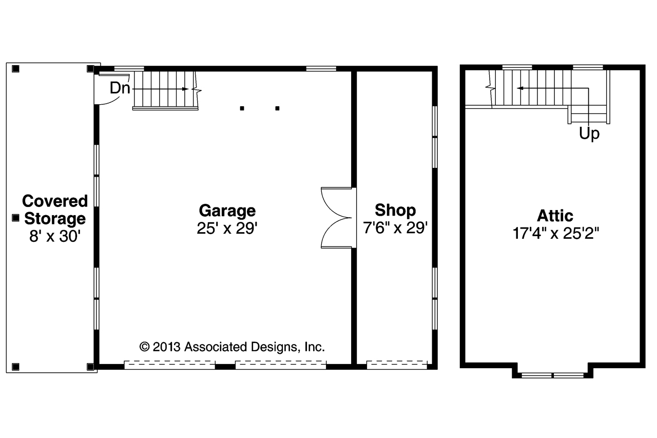 Craftsman house plans 2 car garage w attic 20 100 for Garage floor plans