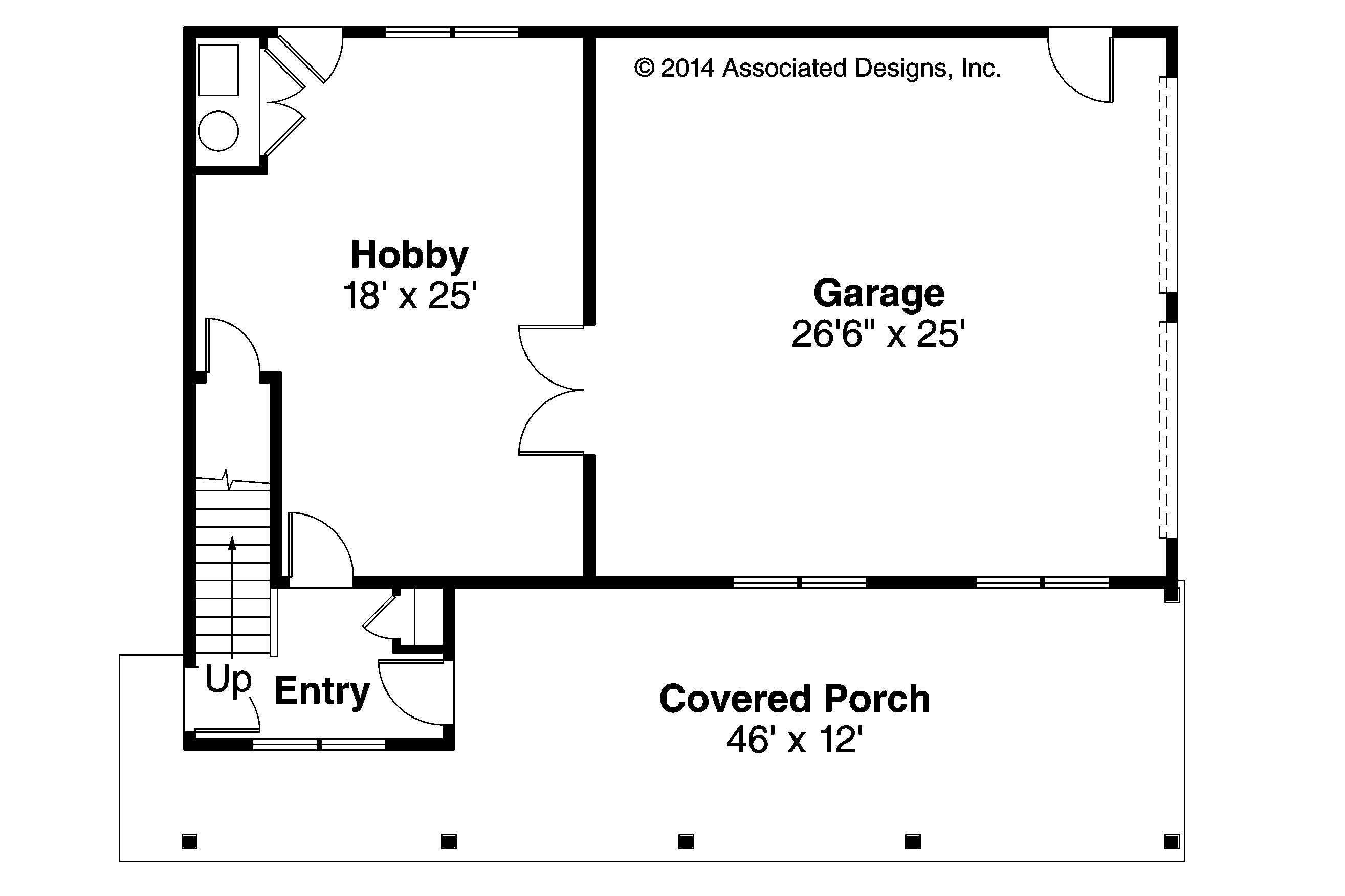 Craftsman house plans garage w apartment 20 119 for Garage floor plans