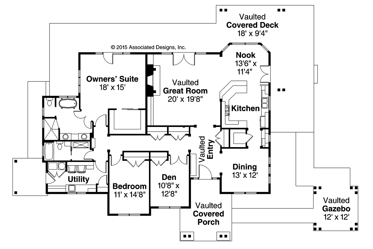 Lodge style house plans cedar height 30 975 associated for Lodge style floor plans