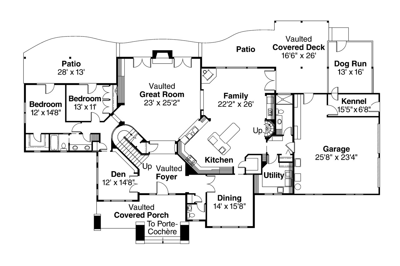 Lodge style house plans timberfield 30 341 associated for Lodge style floor plans