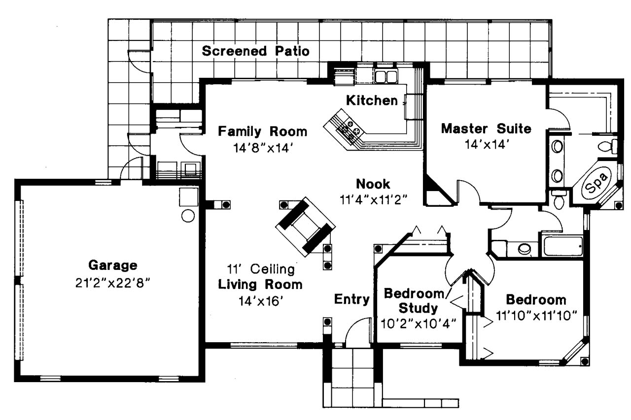 Mediterranean house plans carrizo 11 010 associated for Mediterranean style house floor plans