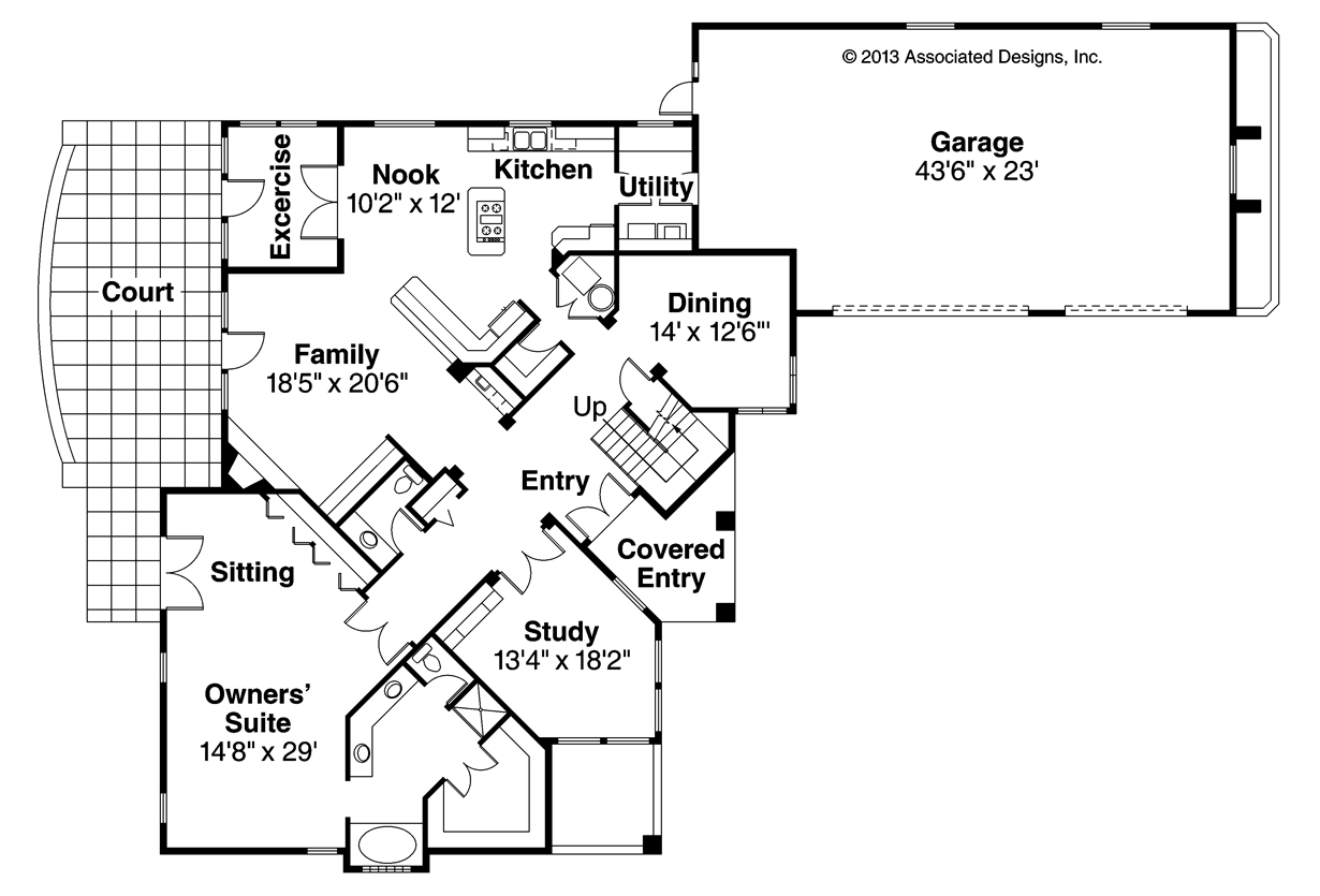 Mediterranean house plans pasadena 11 140 associated for Floor plans for a mansion