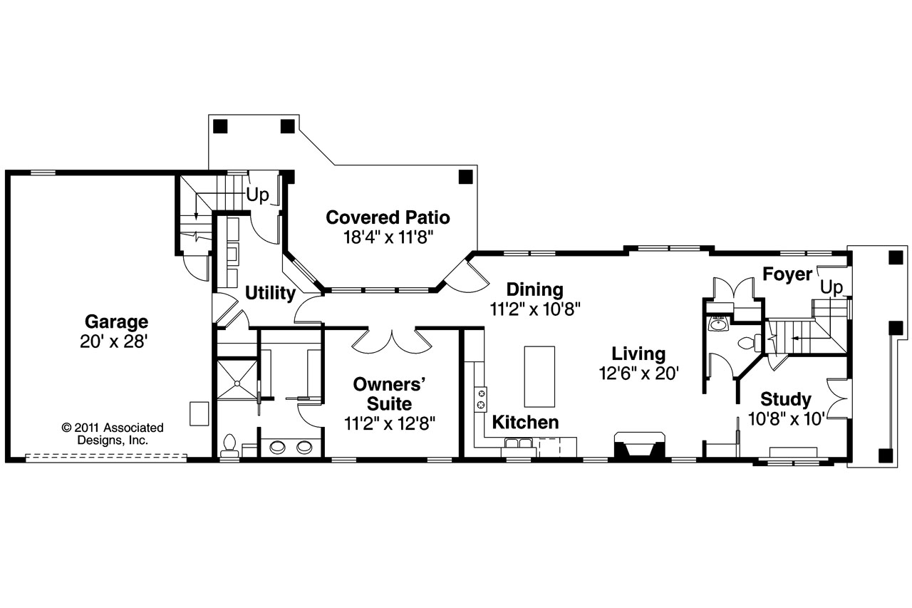 Mediterranean house plans rimrock 30 817 associated for House plans for wide but shallow lots