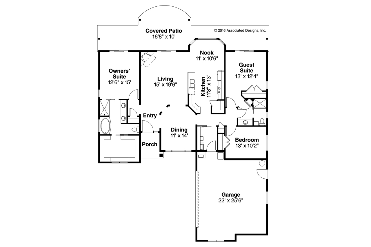 Mediterranean house plans yaquina 31 025 associated for Mediterranean house floor plans