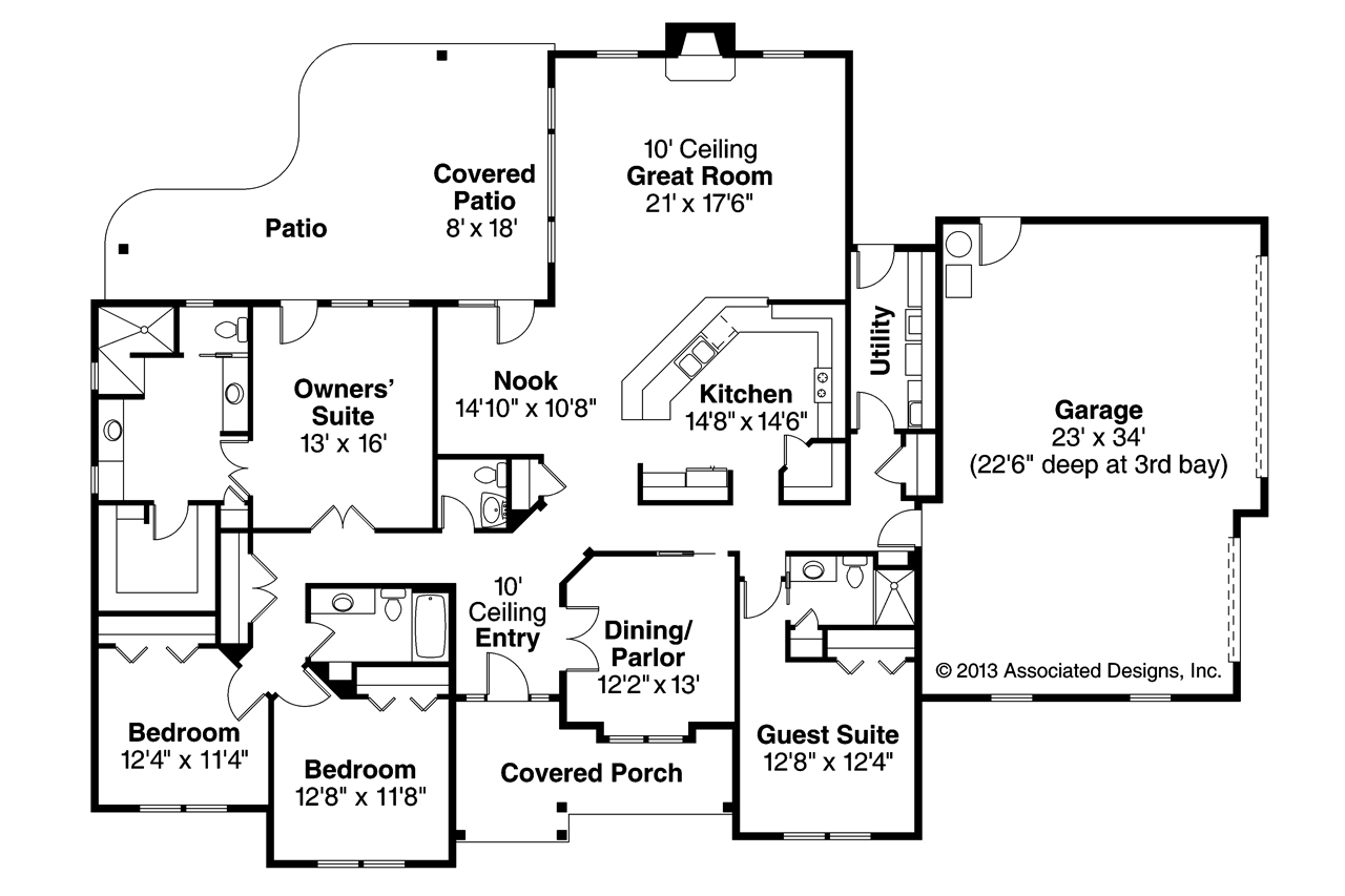 Prairie style house plans fall creek 30 755 associated for Floor plans with photos