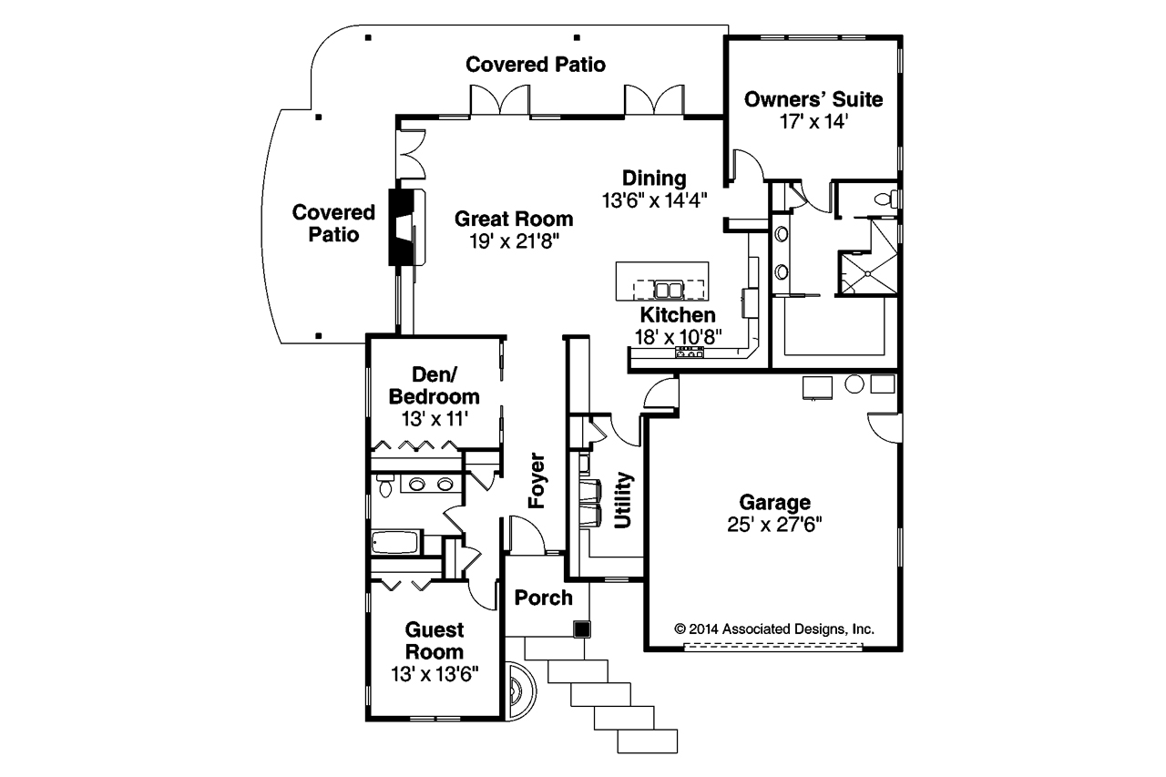 Prairie style house plans juniper 30 964 associated for Prairie floor plans