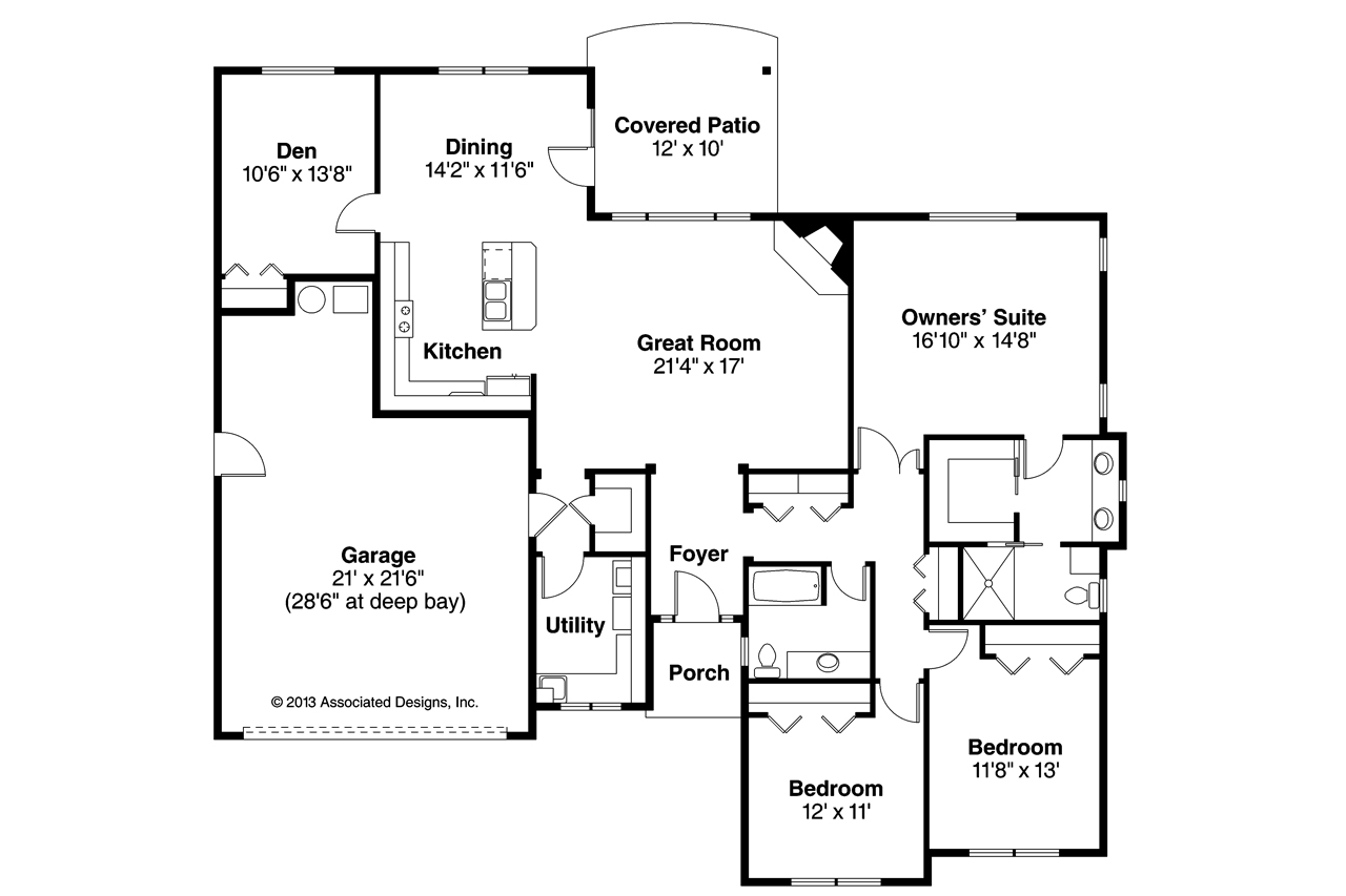 Ranch house plans lake creek 30 819 associated designs for Lake house floor plan
