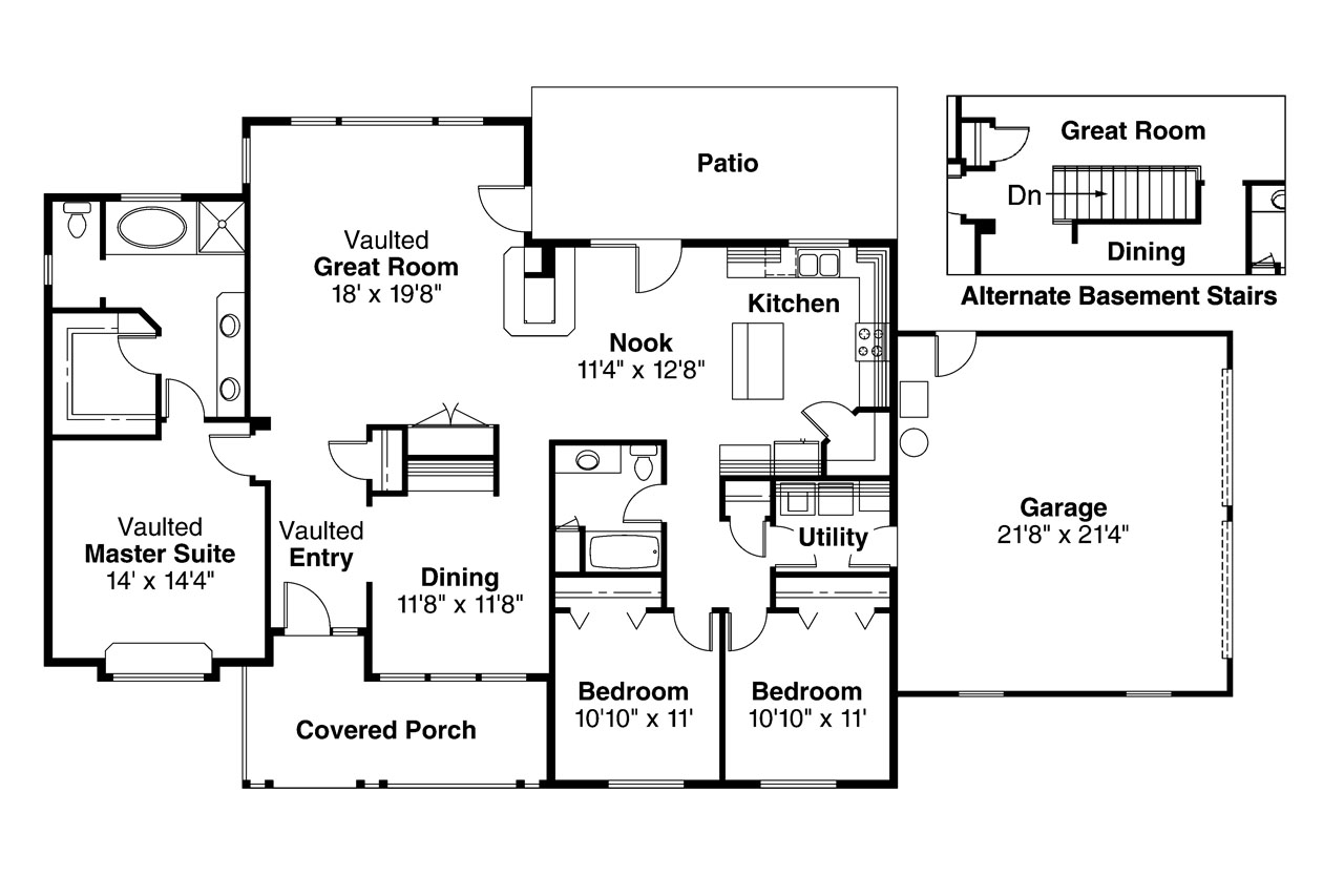 Ranch house plans alpine 30 043 associated designs for One level ranch home floor plans