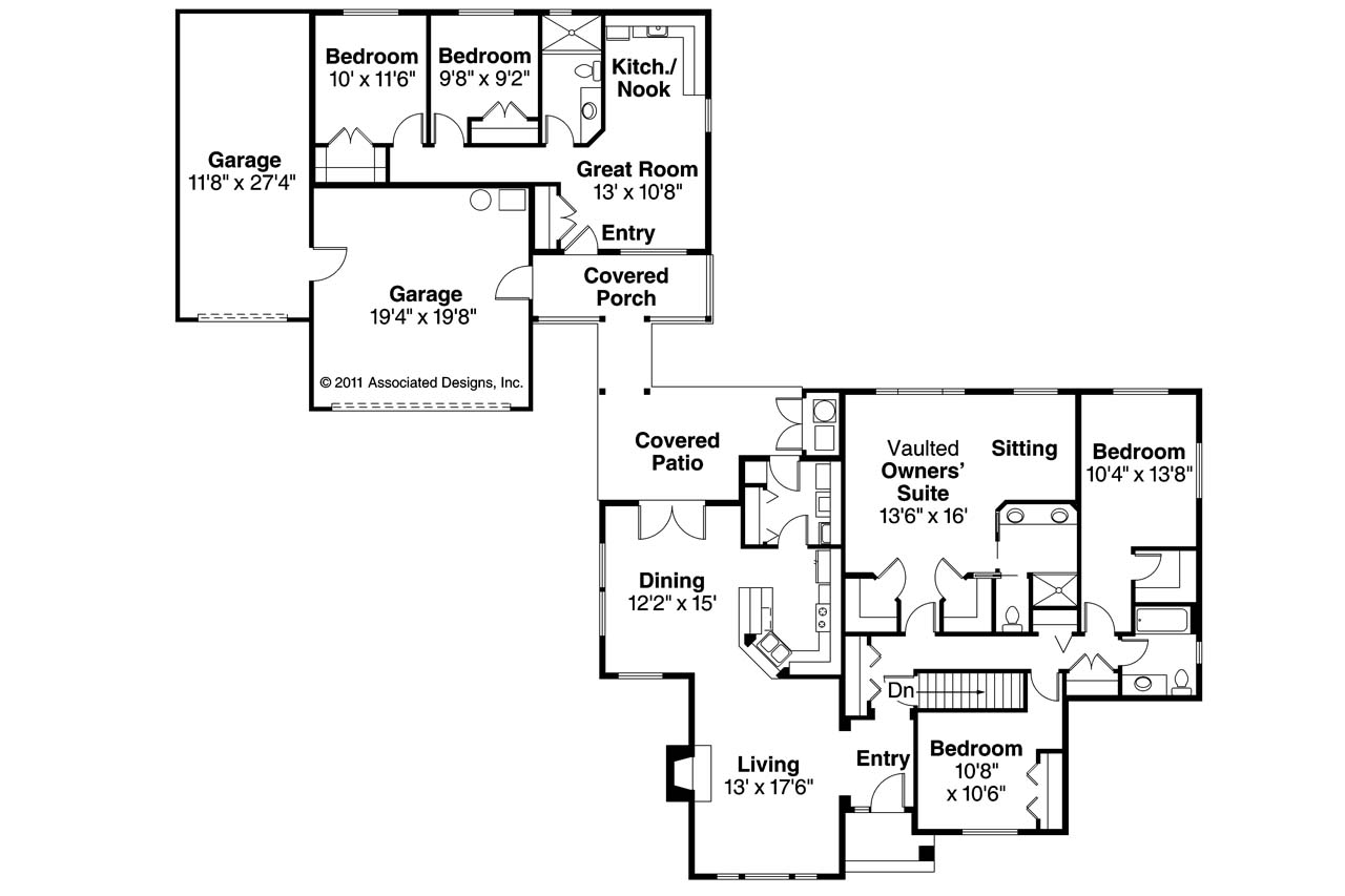 Ranch house plans ardella 30 785 associated designs for House plans with detached guest suite