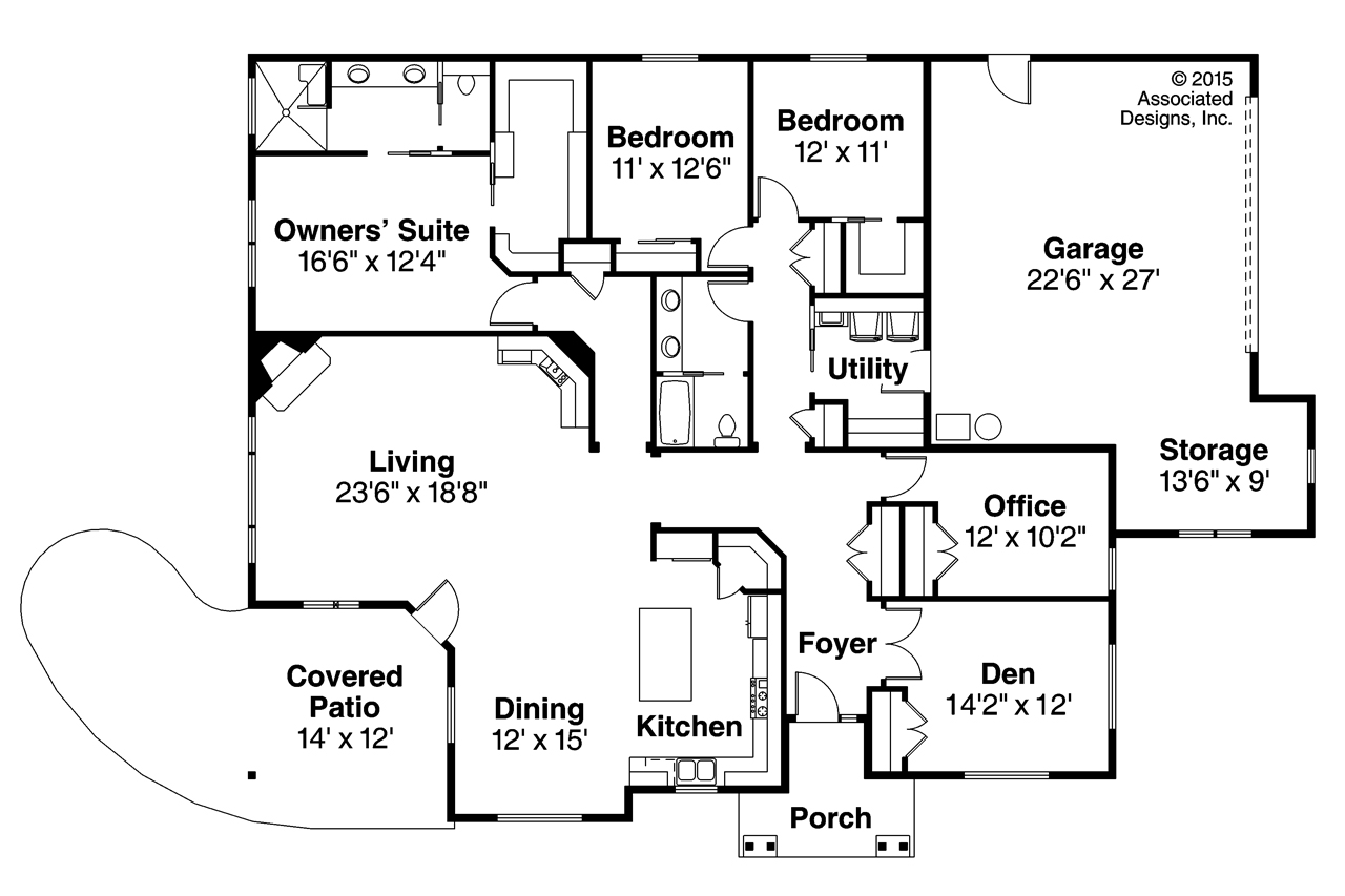 Ranch House Plan   Baileyville 30 976   Floor Plan ...