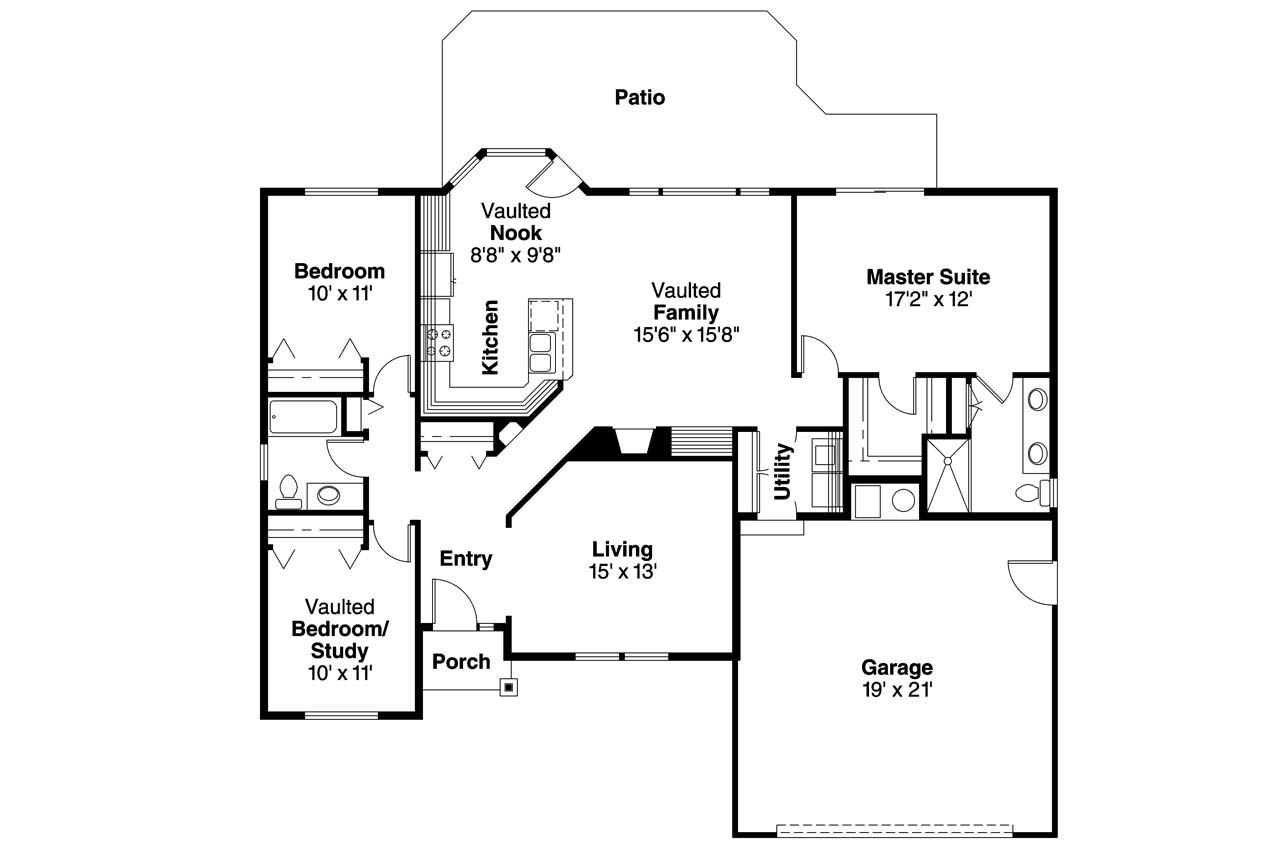 Ranch house plans bingsly 30 532 associated designs Ranch house floor plan