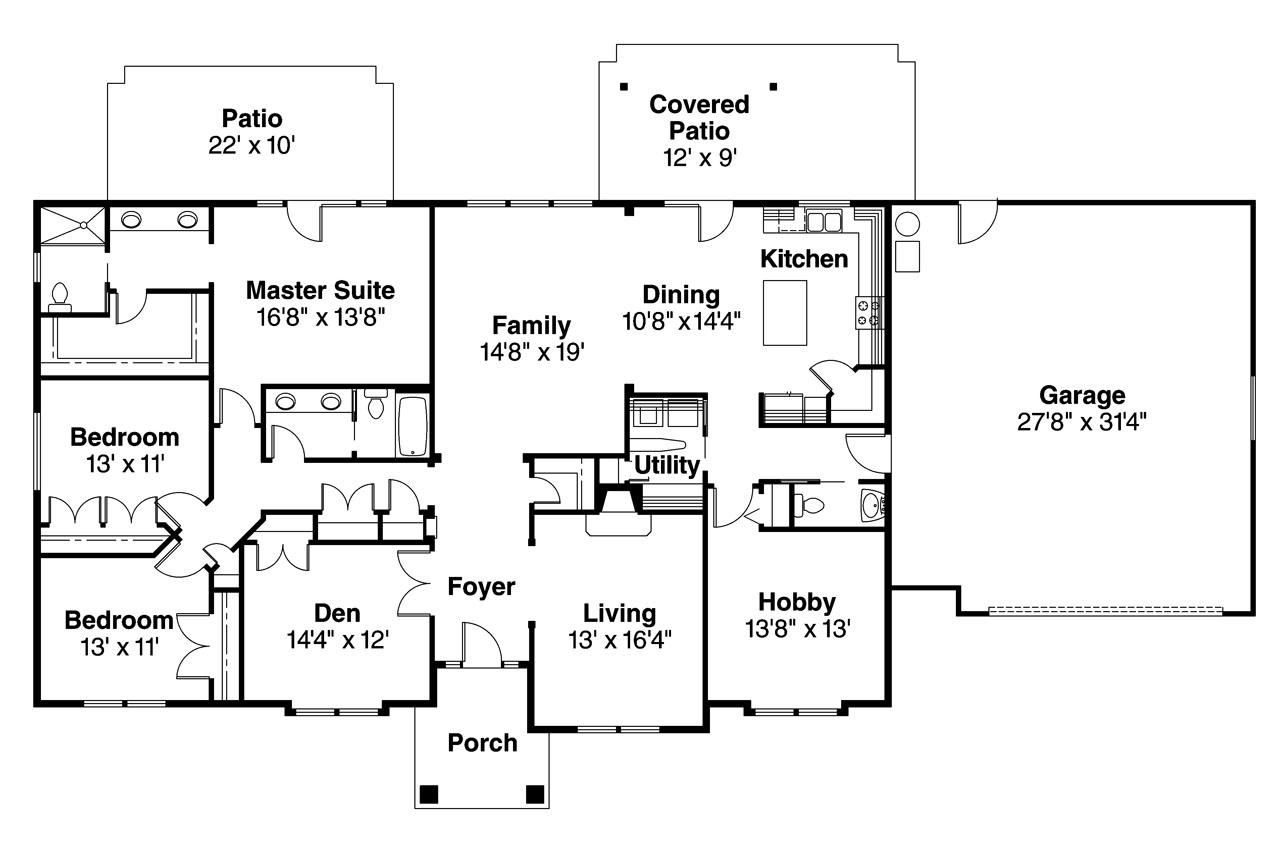 Ranch house plans brennon 30 359 associated designs for House floor plans