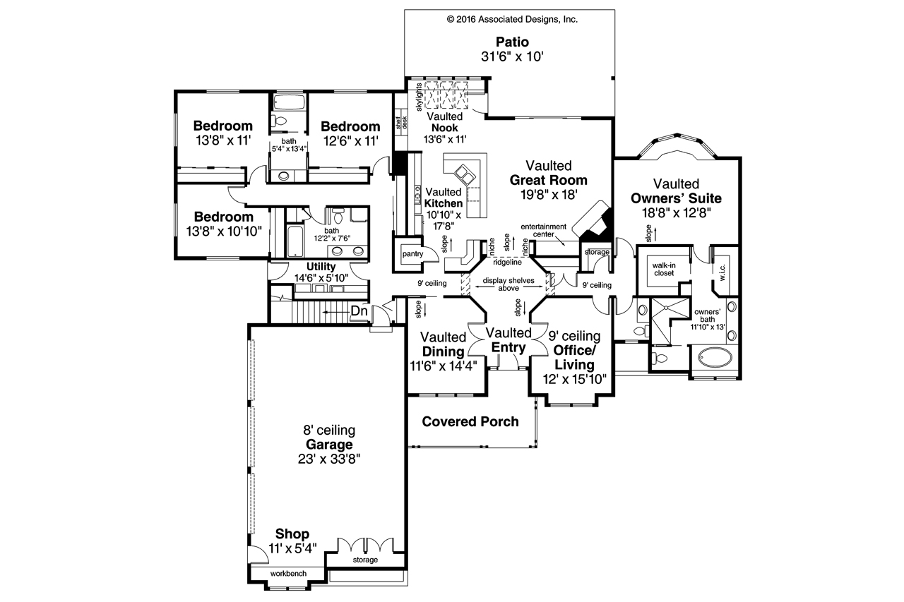 Ranch house plans cameron 10 338 associated designs for 10 bedroom mansion floor plans