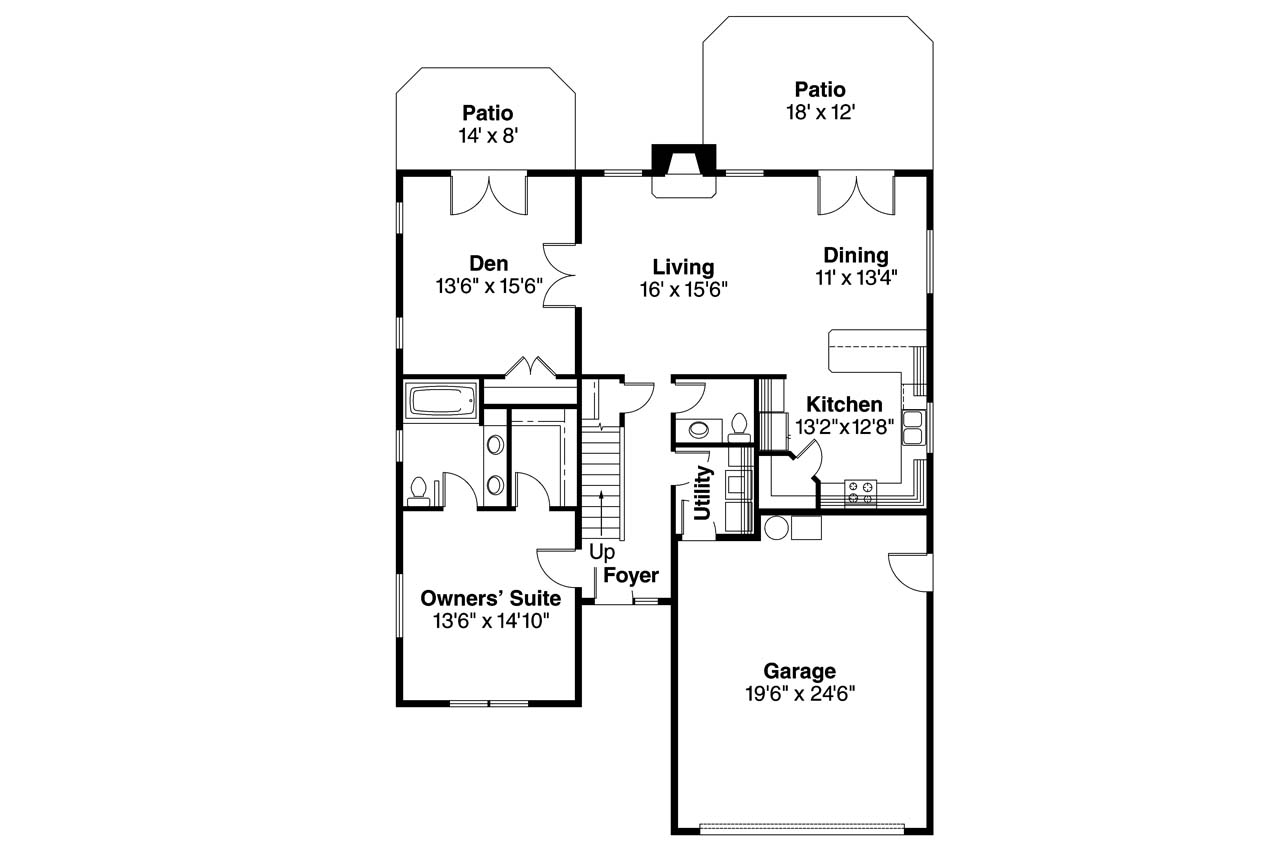 Ranch house plans carter 30 531 associated designs for Ranch house floor plans