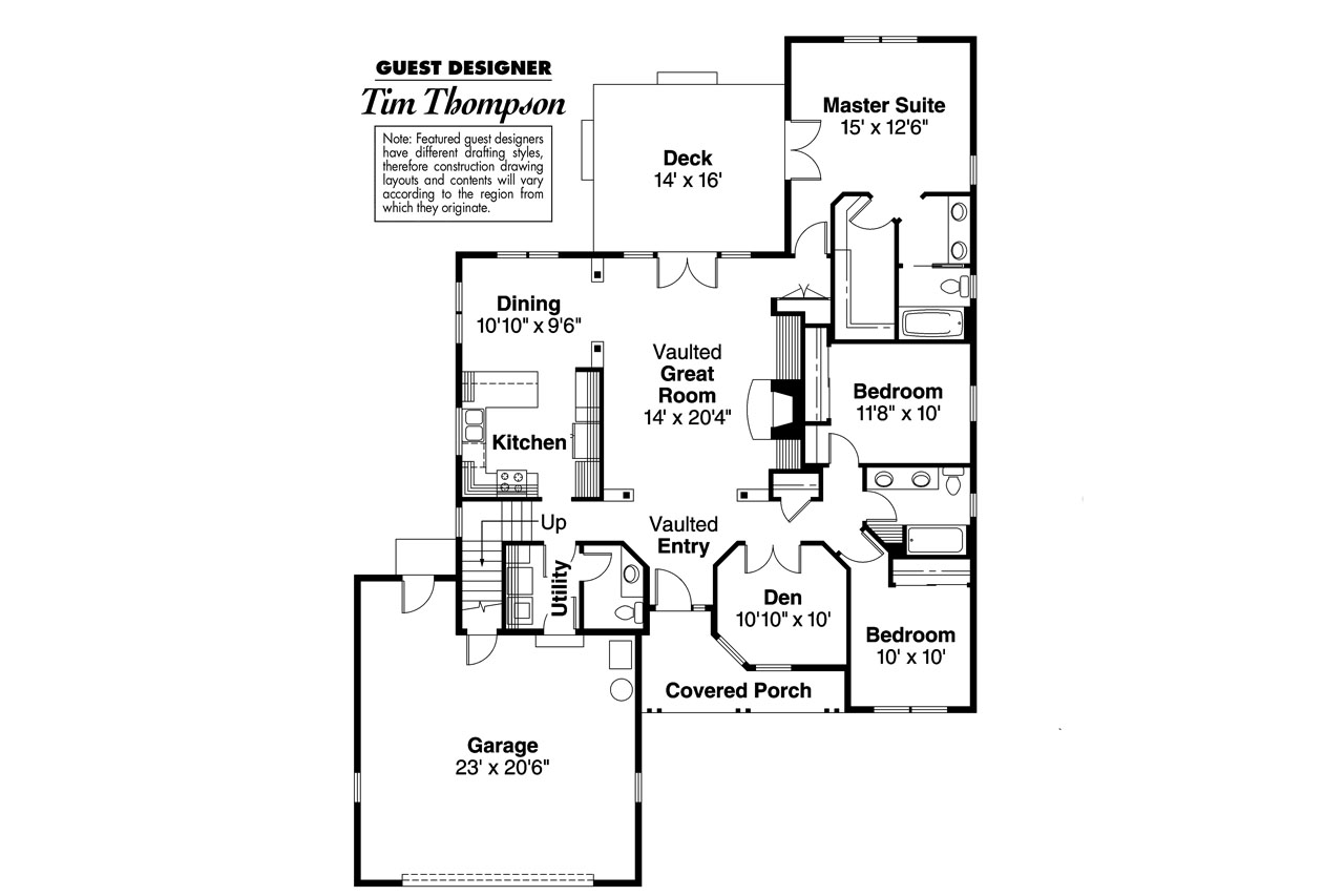 Ranch house plans chesapeake 50 007 associated designs for House plans 3 bedroom and double garage