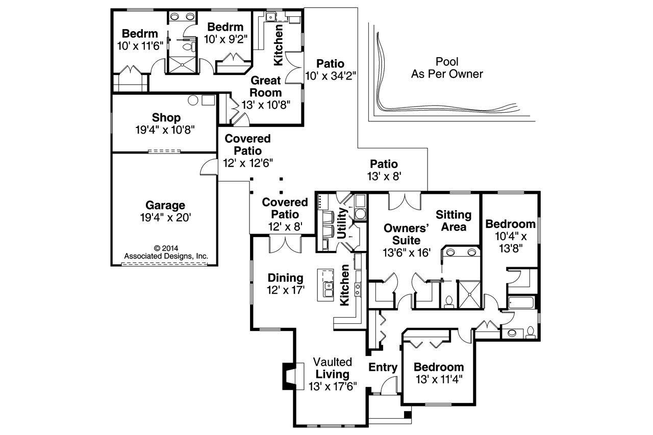 Ranch house plans darrington 30 941 associated designs for House plans with separate guest house