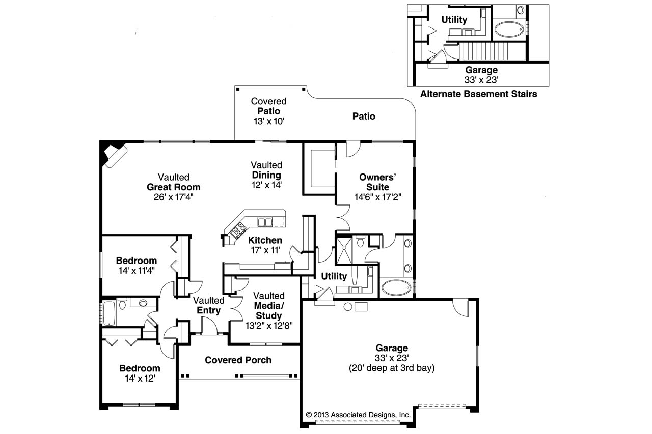 Ranch house plans fieldstone 30 607 associated designs for Ranch house floor plans