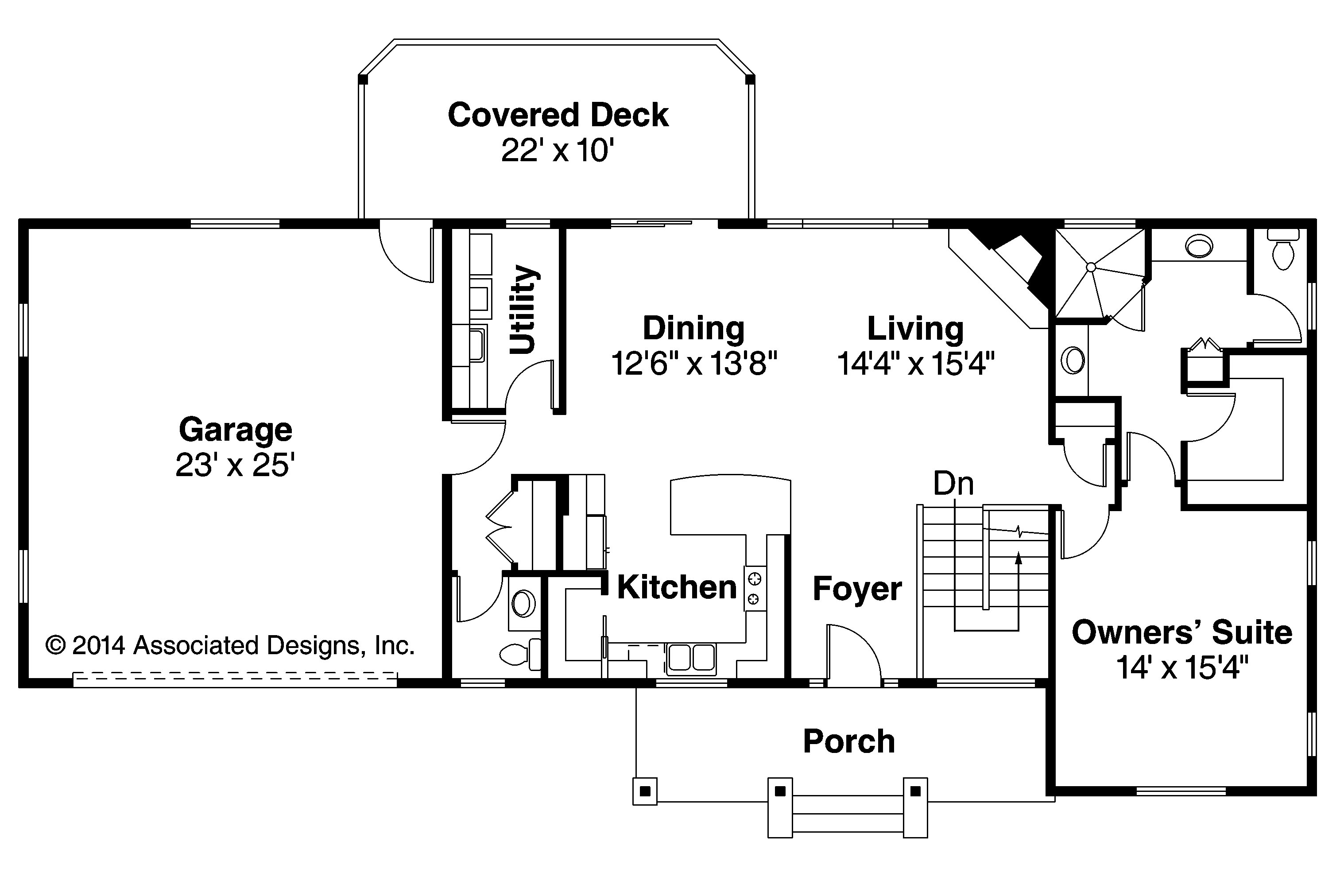 Ranch house plans gatsby 30 664 associated designs for Ranch style floorplans