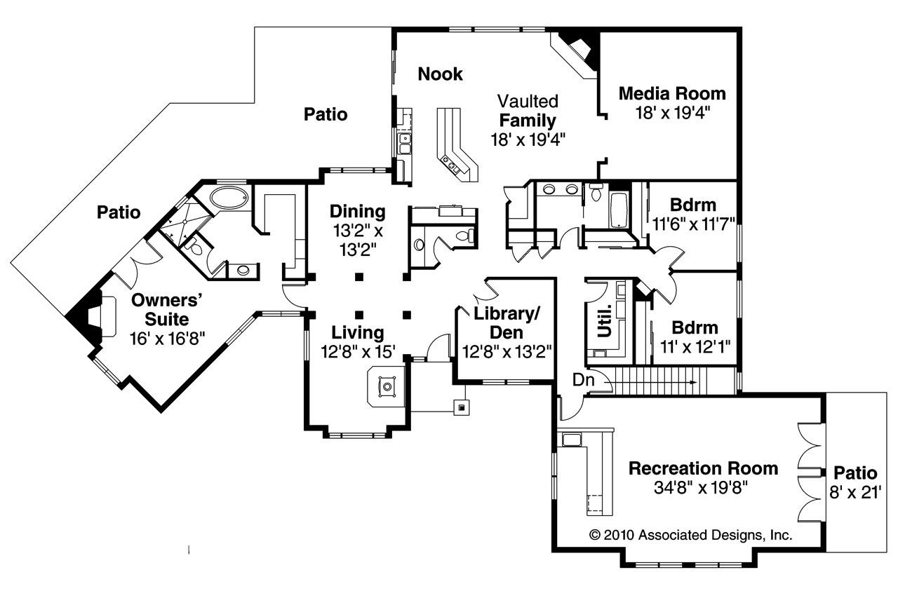 Ranch house plans hillcrest 10 557 associated designs Ranch house floor plan