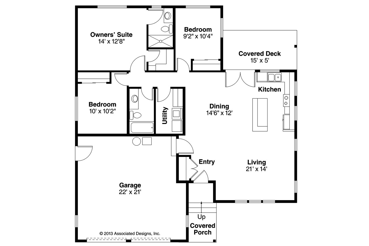 Ranch House Plans - Kenton 10-587 - Associated Designs