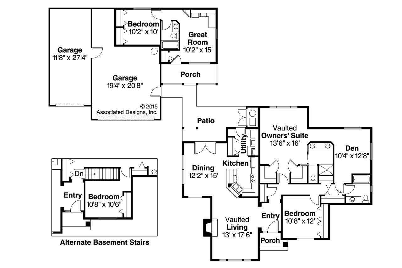 Ranch house plans kingsley 30 184 associated designs for Garage guest house floor plans