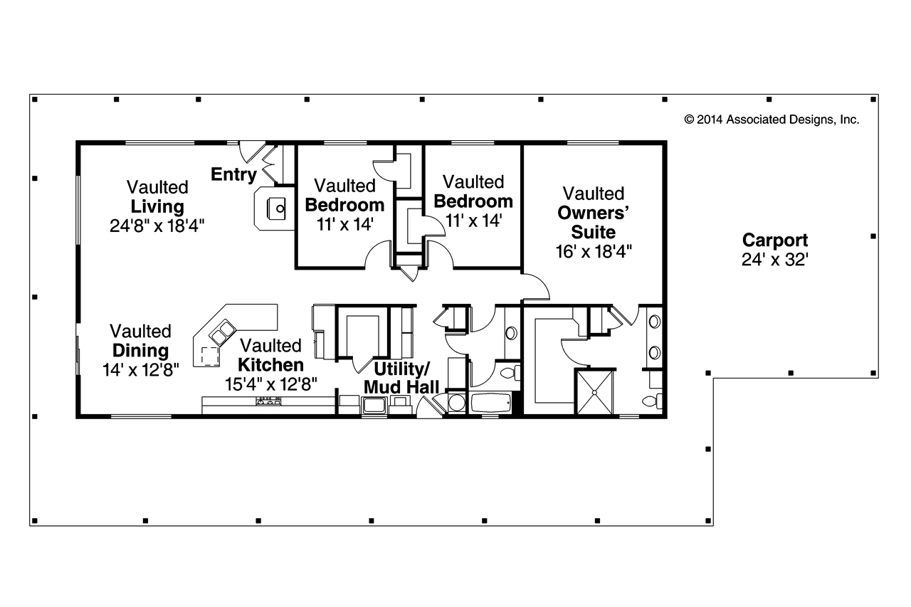 Ranch house plans madrone 30 749 associated designs for Ranch floor plans