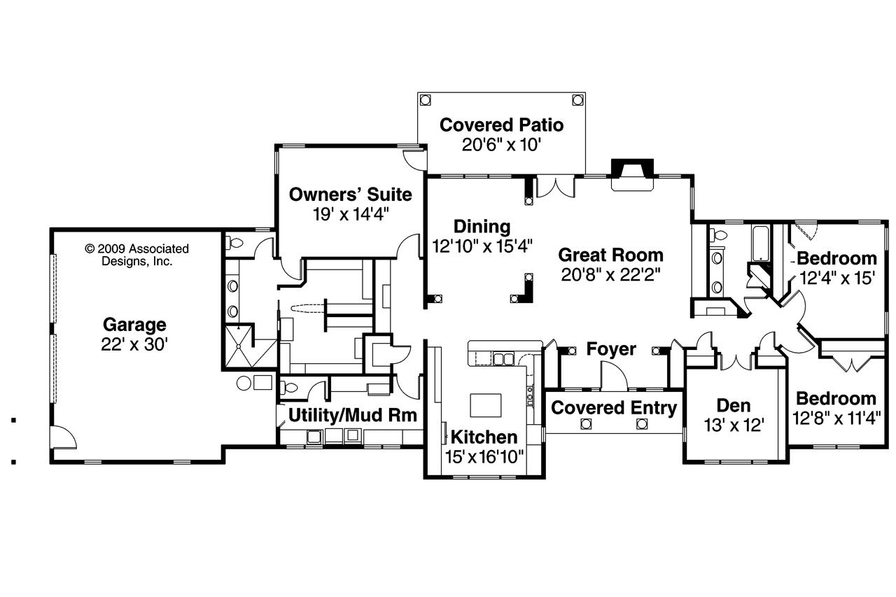Ranch house plans parkdale 30 684 associated designs for Ranch building plans
