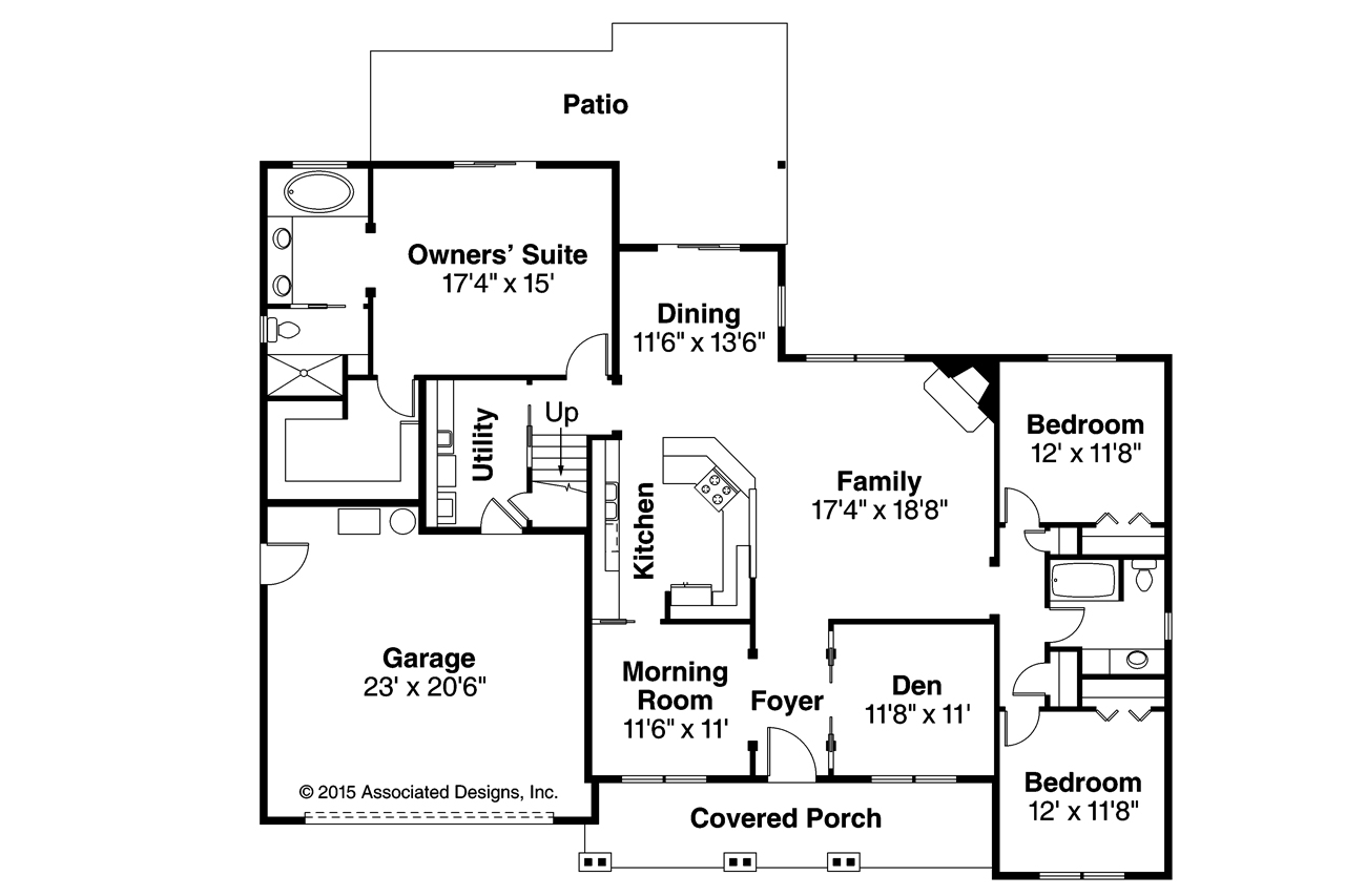 Ranch house plans silverbrook 31 012 associated designs for Ranch floor plans with bonus room