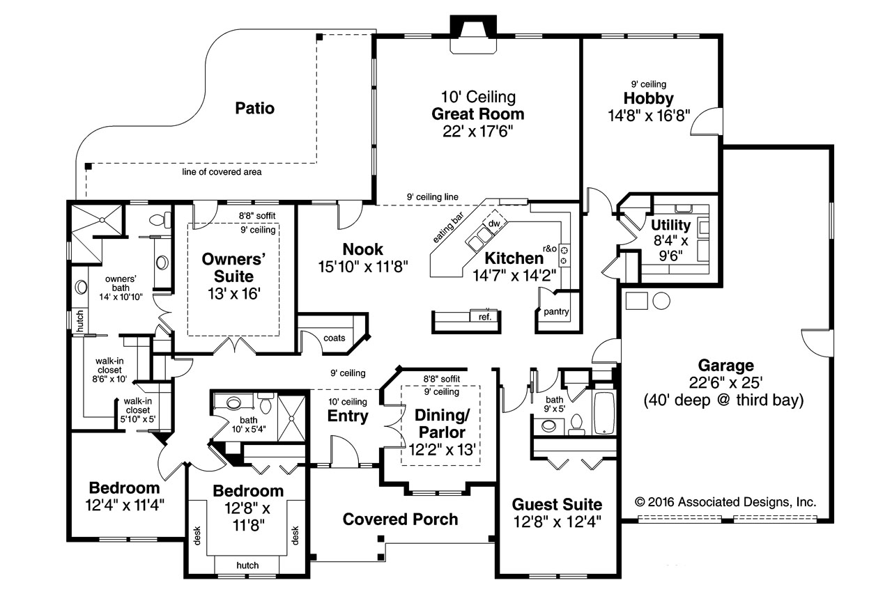 Ranch House Plans - West Creek 30-781 - Associated Designs