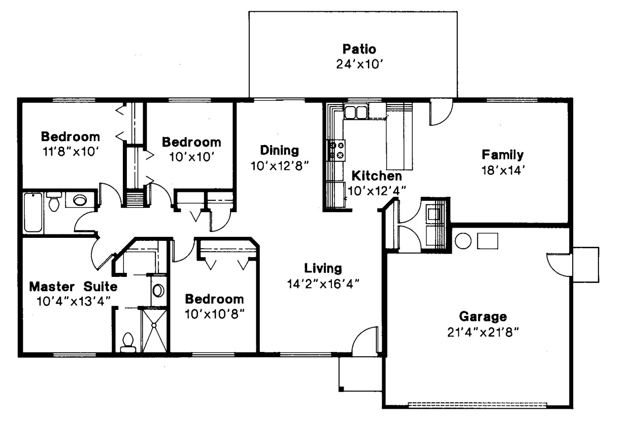 Ranch house plans weston 30 085 associated designs for Large ranch floor plans