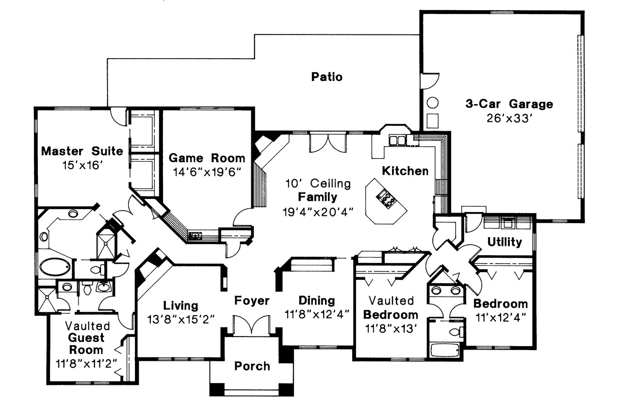 Southwest house plans barstow 30 050 associated designs for Southwest home floor plans
