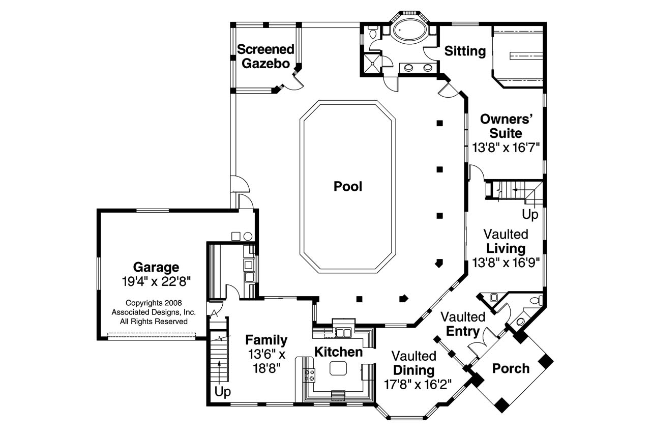 Superbe Southwest House Plan   Savannah 11 035   1st Floor Plan ...